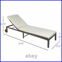 Outdoor Rattan Lounger Adjustable Wicker Chaise Lounge Relaxer Outdoor Poolside