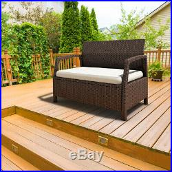 Outdoor Rattan Loveseat Bench Couch Chair Patio Furniture Brown With Cushions
