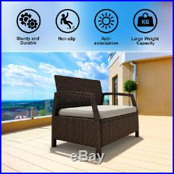Outdoor Rattan Loveseat Bench Couch ChairPatio Furniture Brown With Cushions New