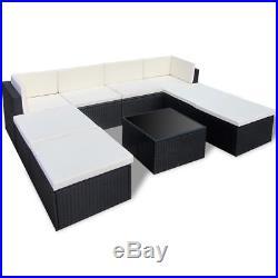Outdoor Rattan Set Lounge Wicker Sectional Sofa Garden Patio Furniture Black