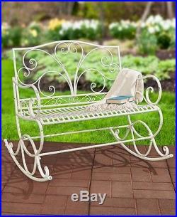 Superb Outdoor Rocker White Metal Rocking Bench Glider Chair Patio Machost Co Dining Chair Design Ideas Machostcouk
