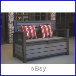 Outdoor Storage Bench Patio Garden Porch Poolside Seat Box Plastic Brown 60 Gal