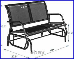 Outdoor Swing Glider Loveseat Chair 2 Seats with Powder Coated Steel Frame