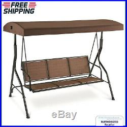 Outdoor Swing Seat 3 Person Lounge With Canopy Patio Backyard Yard Porch Chair