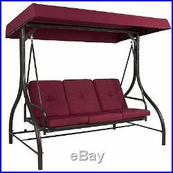 Outdoor UV Blocker 3 Seat Flatbed Seater Canopy Motion Gilder Chair Burgundy