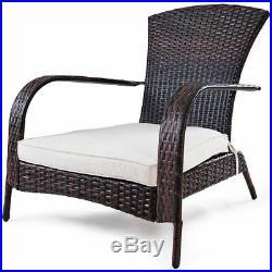 Outdoor Wicker Rattan Patio Porch Deck Adirondack Chair Seat Cushion Mix Brown