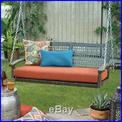 Outdoor Wicker Rustic 2 Persons Hanging Patio Porch Swing Bench Chair with Cushion