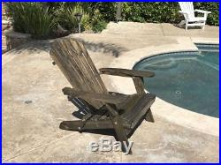 Outdoor Wood Adirondack Chair Foldable with Pull Out Ottoman Patio Furniture