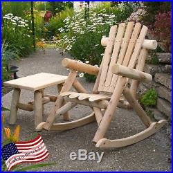 Outdoor Wood Rocking Chair Rustic Cedar Log Patio Garden Furniture Porch Seat