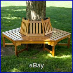 Outdoor Wooden Bench Seat Garden Backyard Furniture Wrap Around Tree New
