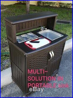 Outdoor sink station Portable Rolling Drop Leaf Kitchen Storage Island Cart