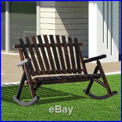 Outsunny 2 Person Fir Wood Rustic Outdoor Patio Adirondack Rocking Chair Porch