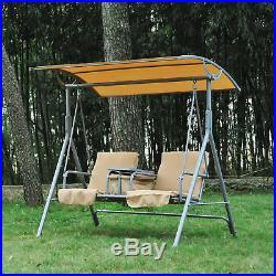 Outsunny 2 Person Outdoor Patio Porch Swing Double Seat With Canopy