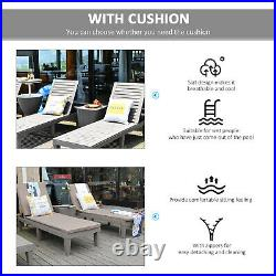 Outsunny 2-Piece Outdoor Chaise Lounge Chair with 5-Level Adjustable Backrest