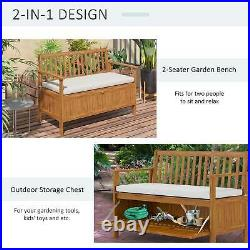 Outsunny 2-Seat Outdoor Garden Storage Bench with Acacia Wood Design & Cushions