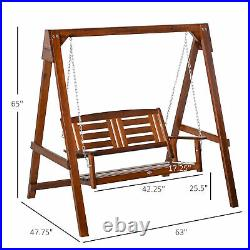 Outsunny 2 Seater Wood Outdoor Porch Patio Swing with Water-Resistant Varnish