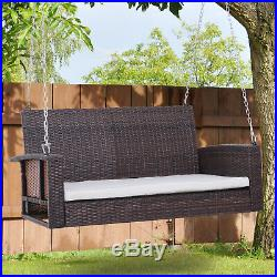Outsunny 2-person Outdoor Wicker Porch Swing Chair Garden Hanging Bench