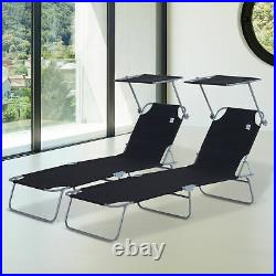 Outsunny 2PC Recliner Outdoor Sun Lounger Height Adjustable with Top Canopy Cover