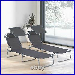 Outsunny 2PC Sun Lounger Canopy Reclining Chair Outdoor Patio Garden Chaise Set