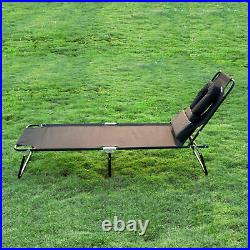 Outsunny 2PC Sun Lounger Reclining Folding Sunbed Chair Bed Head Rest Folding
