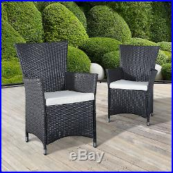 Outsunny 2pcs Patio Furniture Rattan Chair Set with Armrest Outdoor Coffee