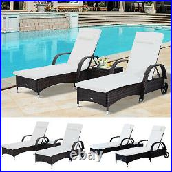 Outsunny 3pc Wheeled Patio Rattan Lounge Set Adjustable Reclining Chaise Chair