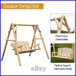 Outsunny 6.5 2 Person Solid Wood Log Cabin Style Patio Swing Loveseat
