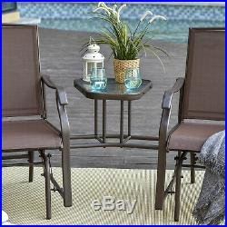 Outsunny Double Patio Glider With Tea Table, Tempered Glass, Outdoor, Garden