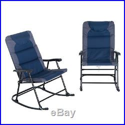 Outsunny Folding Padded Outdoor Camping Rocking Chair Set Garden Rocker