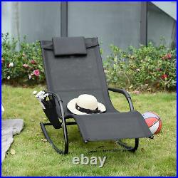 Outsunny Garden Textilene Rocking Chair Sun Lounger Recliner with Headrest Black