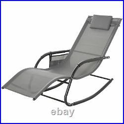 Outsunny Garden Textilene Rocking Chair Sun Lounger Recliner with Headrest Grey