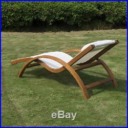 Outsunny Lounge Chair Chaise Wood Outdoor Pool Patio Furniture Camping Headrest