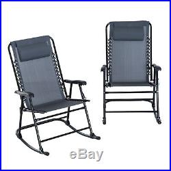 Outsunny Mesh Outdoor Patio Folding Rocking Chair Set Porch Lawn Furniture
