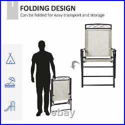 Outsunny Outdoor Chairs Set of 2 Foldable for Garden Balcony Poolside