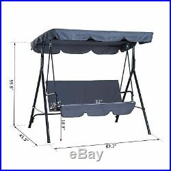 Outsunny Porch Glider Bed 3 Seater Swing Chair Portable Patio Grey