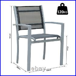 Outsunny Set Of 2 Outdoor Chairs Steel Frame Texteline Mesh Seats Foot Caps Grey