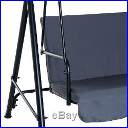 Outsunny Steel Garden Porch Swing Bench Chair 3 Person with Top Canopy Grey