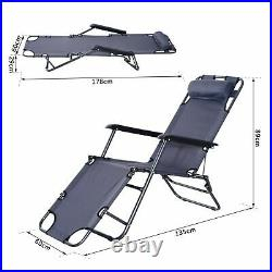Outsunny Sun Lounger Recliner Chair 2 in 1 Garden Foldable Steel Grey Outdoor