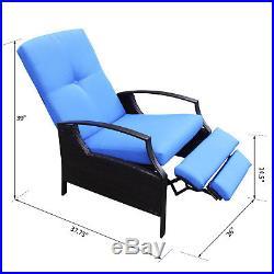 Outsunny Wicker Adjustable Recliner Chair Rattan Armchair Durable Garden Blue