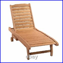 Outsunny Wooden Chaise Lounge Outdoor Patio Furniture Adjustable withPullout Table