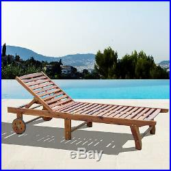 Outsunny Wooden Outdoor Folding Chaise Lounge Chair Recliner Poolside
