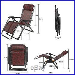 Oversize Recliner Zero Gravity Chair Folding Portable Patio Garden Relax Lounger