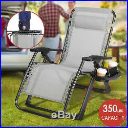 Oversize Zero Gravity Chair Folding Camping Patio Heavy Duty Frame WithFree Tray