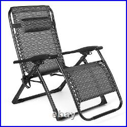 Oversized Folding Extra Wide Zero Gravity Recliner Chair Lounge Patio CupHolder