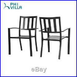 PHI VILLA Outdoor Patio Steel Slat Seat Dining Arm Chairs Set of 2 for Garden