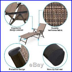 Pack of 2 Outdoor Patio Recliner Lounge Chairs Pool Chaise Furniture Adjustable