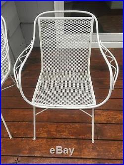 Pair Mid Century Vintage Salterini Tempestini Woodard Wrought Iron Patio Chairs