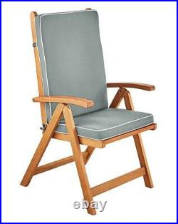 Pair of Reclining Wood Relaxer Sun Armchairs with Cushions Lounger Garden Patio