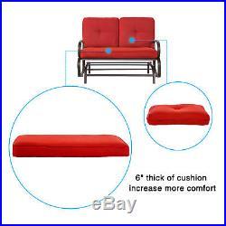 Patio 2 Person Loveseat Rocking Bench Swing Rocker Lounge Glider Chair Brick Red