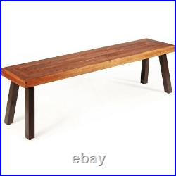 Patio Acacia Wood Dining Bench Seat with Rustic Steel Legs for Outdoor Indoor